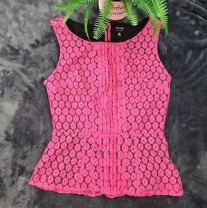 Nicole Miller Pink Lace Peplum Top